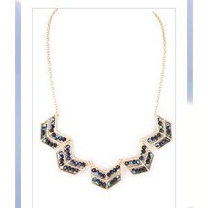 Gold Tone Chevron Beaded Necklace